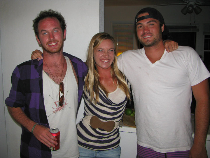 Three amigos: Dave, Jackie and Chav share good times, good drinks and good waves.