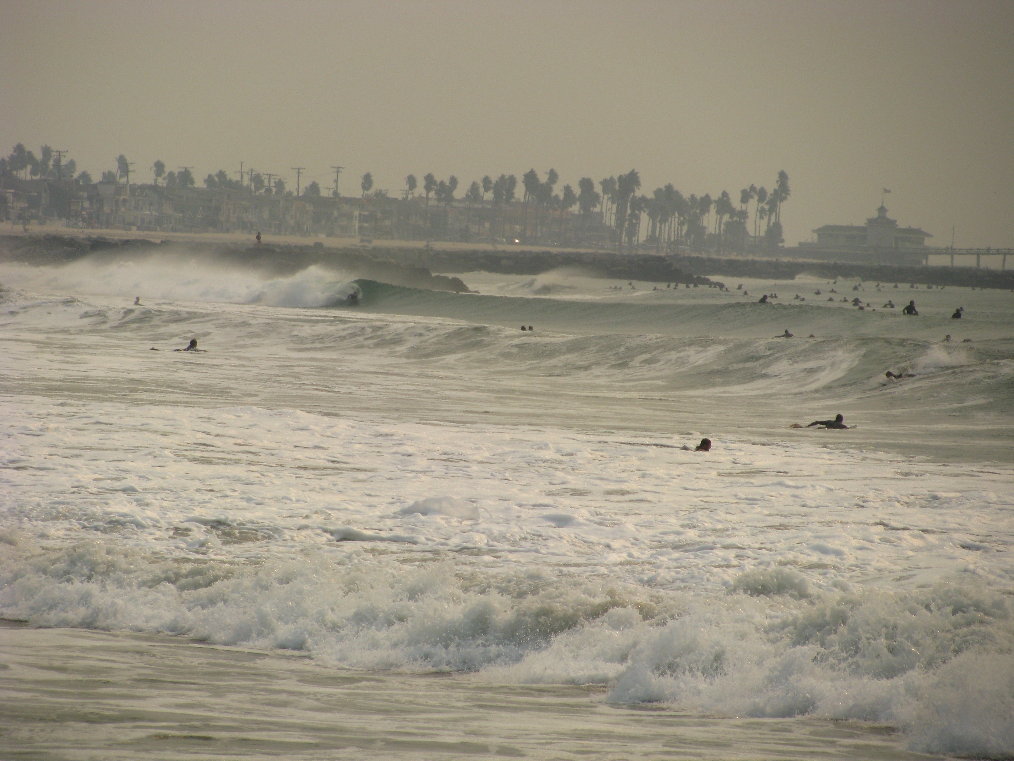 Newport Jetties break up the swell and the crowds.