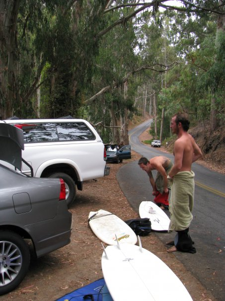 Unless it's your good friends, this is the time to NOT take a picture. Dave gets ready to surf Hazards in San Louis Obispo, Calif.