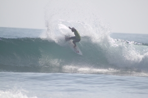 Kelly Slater throws some spray at the 2012 Hurley Pro at Lower Trestles. Photo: Jackie Connor