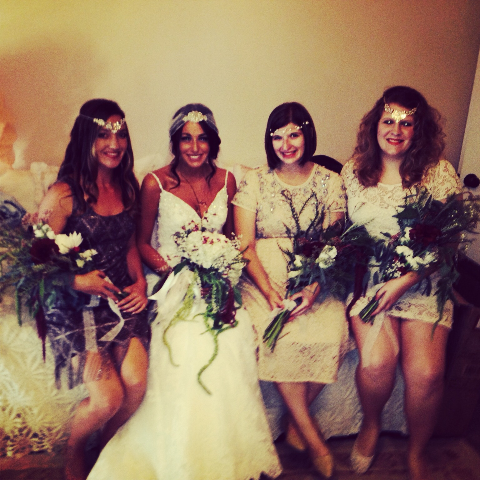 My cousin, Ashley, had a 1920's theme for her wedding. Pictured are me, Ashley, Kristy and Kerri.