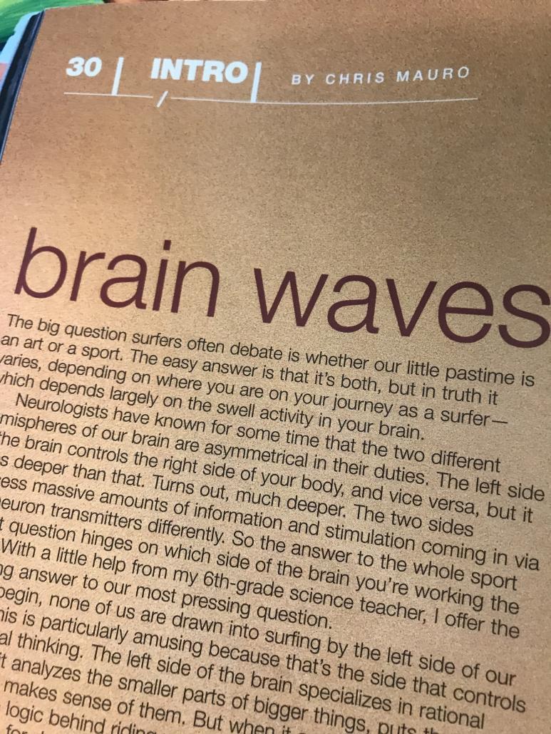 Chris Mauro, page of Surfer Magazine, Chris Mauro byline