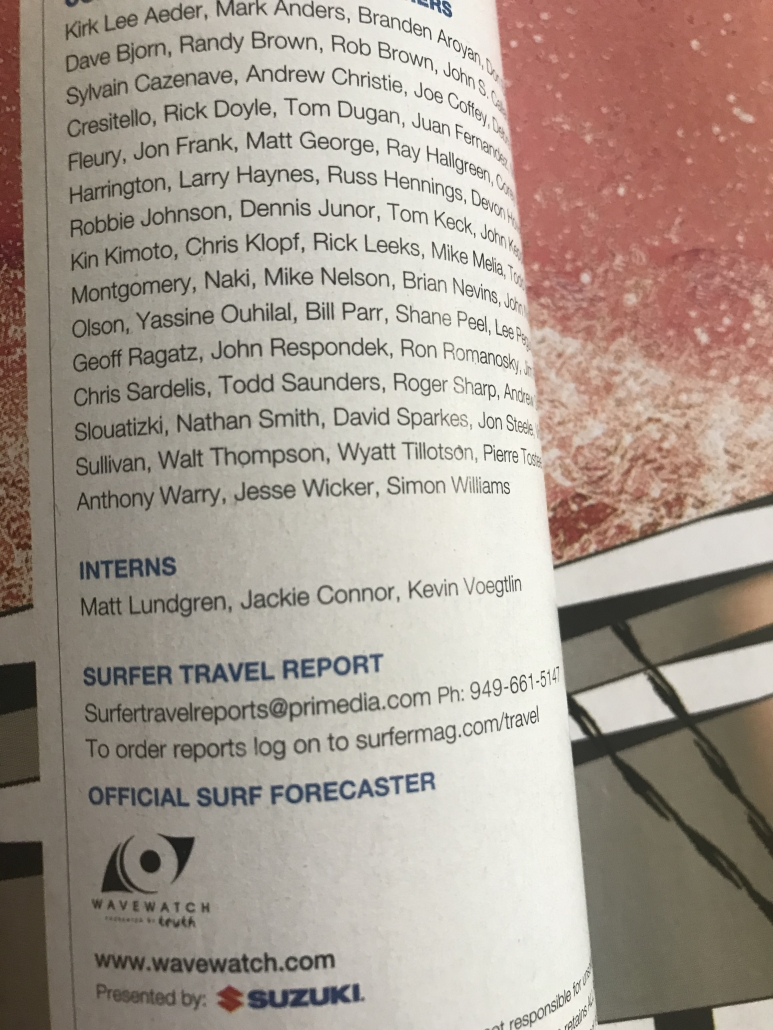 page of Surfer Magazine, Masthead for Surfer Magazine, Interns