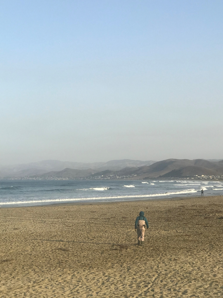 Fisherman walks on a sandy beach in Morro Bay California