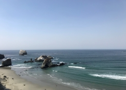view of Sand Dollar Beach from the cliff on a sunny day clear water blue skies dolphins