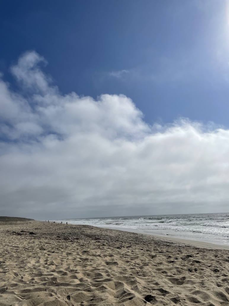 a partly cloudy and windy beach scene with rough waves and yellow sand