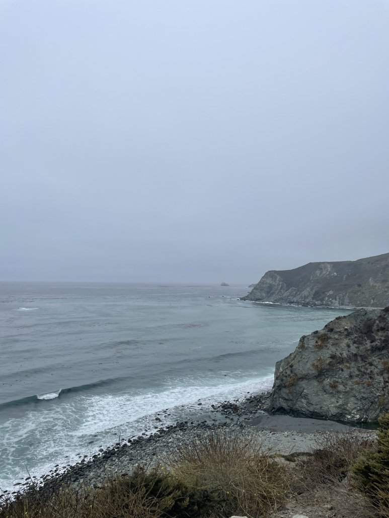 foggy and rocky coastline with a peaky wave breaking off shore